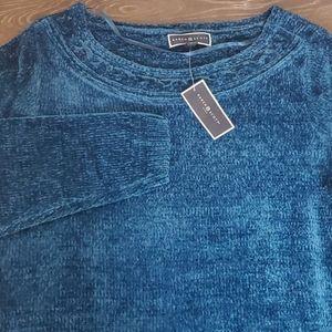 KAREN SCOTT Blue Chenille Pullover Sweater NWT